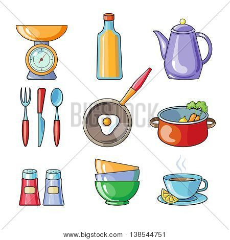 Set of kitchen utensil and collection of cookware icons, cooking tools and kitchenware equipment