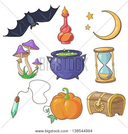 Magic and fairy tale icon and illustrations