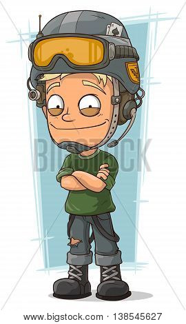 A vector illustration of cartoon blond soldier with cool helmet
