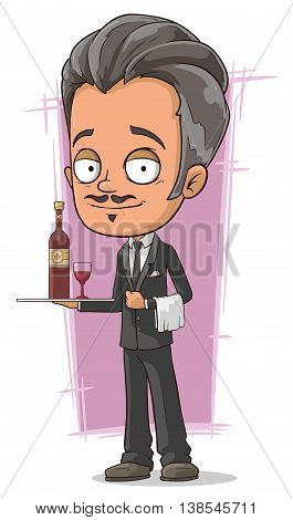 A vector illustration of cartoon classical waiter with wine