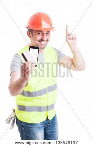 Builder With Debit Card And Phone Pointing Up