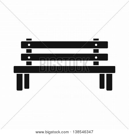 Wooden bench icon in simple style. Seat symbol isolated vector illustration