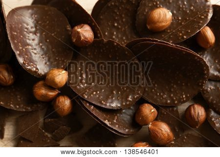 Chocolate chips and hazelnuts, close up