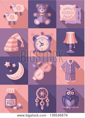 Sleep time icons flat set isolated illustration