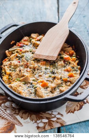Vegetable Casserole Baked In A Cast-iron Frying Pan