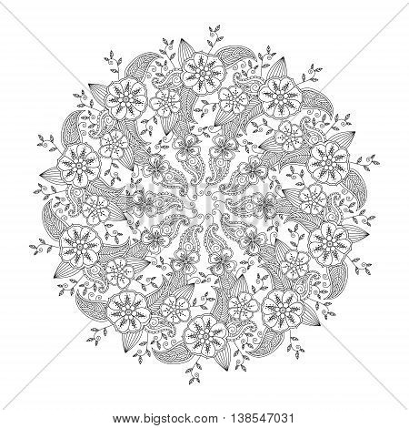 Mendie Mandala with flowers and leaves isolated on white background. Can be used for coloring book. Art vector illustration
