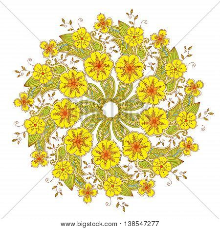 Colorful Mendie Mandala with flowers and leaves isolated on white background. Art vector illustration