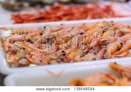 on the market in the white tray fresh shrimp