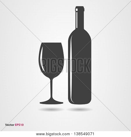 Black silhouette of wine bottle and glass