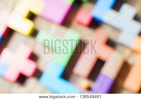 Blur color abstraction. Blurring background geometric forms Tetris Puzzles. Multicolored background