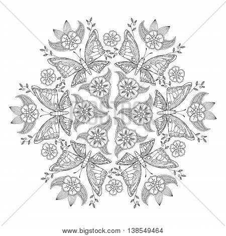 Mendie Mandala with butterflies and flowers. Can be used for coloring book. Vector illustration