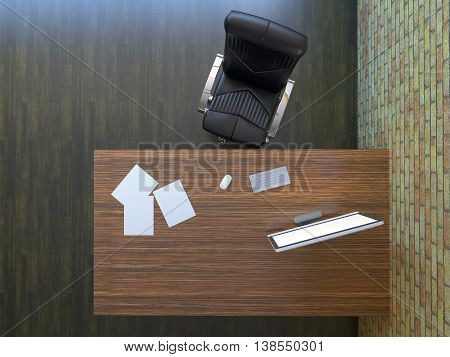 3d rendering office room with modern furniture
