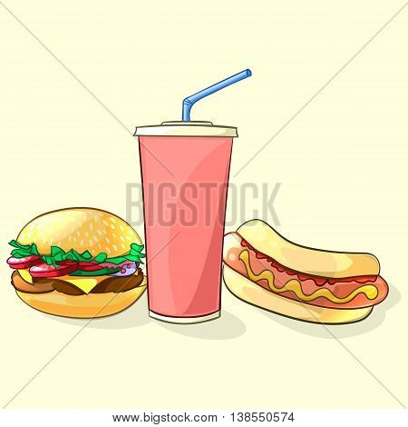 Fast food meal in cartoon style. Beverage cup with burger and hot dog. Vector illustration