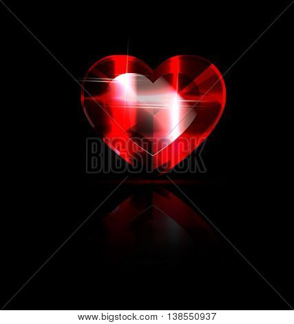 dark background and the large solid red heart-crystal
