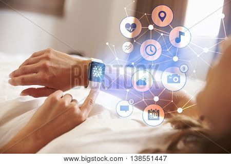 Conceptual Shot Of Woman Checking Information On Smart Watch