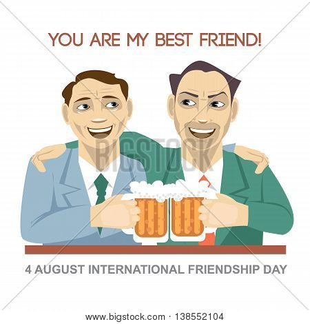 Happy friendship day card. 4 August. Best friends man drinking bear and shaking glasses. Digital vector image