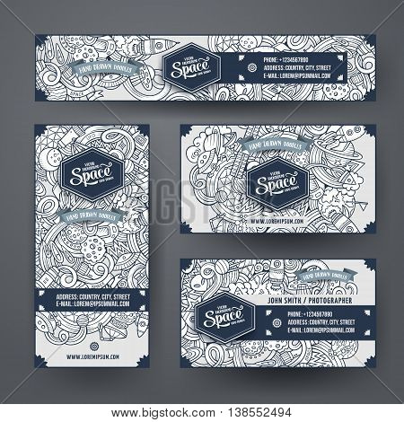 Cartoon cute line art vector hand drawn doodles space corporate identity set. Templates design of banners, id cards, flyer