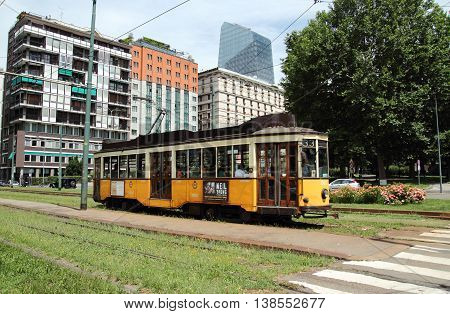 MILAN ITALY - JUNE 27 2016: historic tram renovated in Repubblica square ATM Class 1500 was built between 1920 and 1930