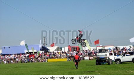 Motocyclist In Stunt Riding Show.Sports.Motorsport