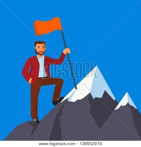 Business achievement, businessman attains success and reaches his aims, vector flat illustration
