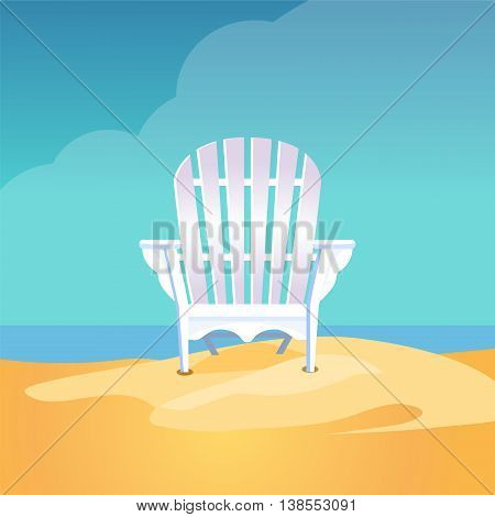 Deck chair on the sea beach standing on the yellow sand under the blue cloudy sky, Vector flat illustration