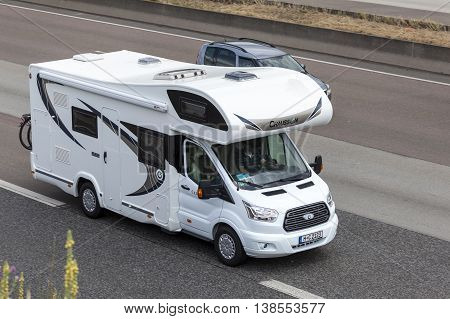 FRANKFURT GERMANY - JULY 12 2016: Chausson Recreational Vehicle driving on the highway in Germany