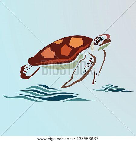 sea turtle vector illustration. the inscription the sea.