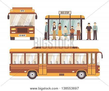 Color flat decorative icons depicting bus stop people and city bus vector illustration