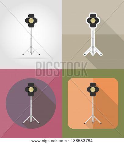 movie floodlight flat icons vector illustration isolated on background