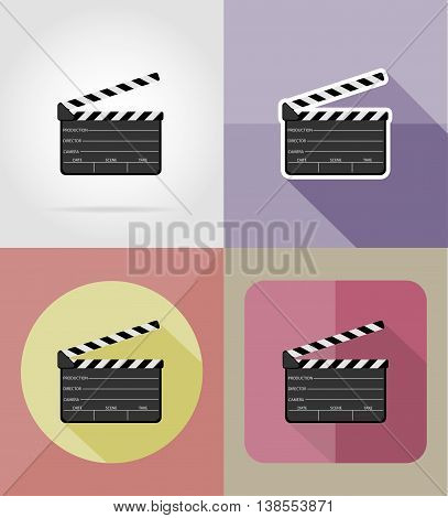 clapper board flat icons vector illustration isolated on background