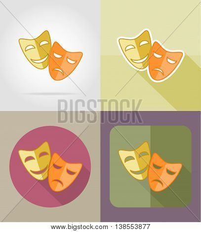 theater masks flat icons vector illustration isolated on background