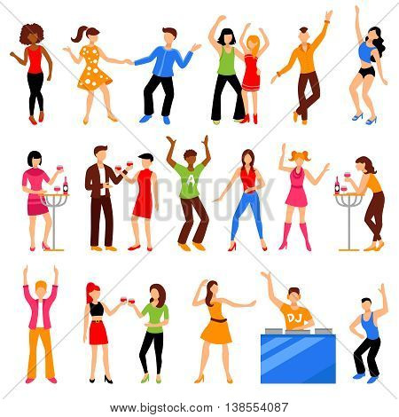 Dancing and drinking people at disco party icons set flat isolated vector illustration