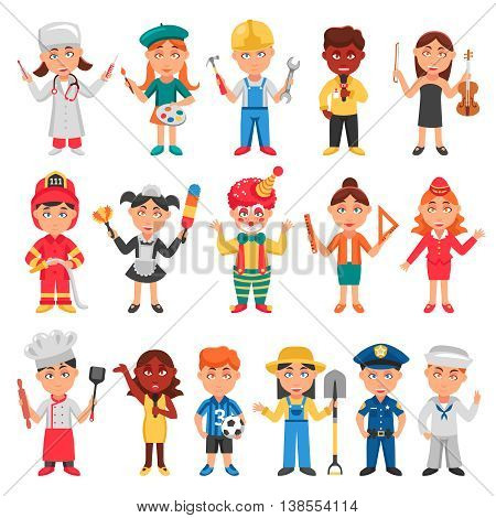 Kids and professions icons set with doctor teacher and policeman flat isolated vector illustration