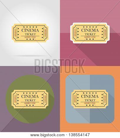 cinema ticket flat icons vector illustration isolated on background
