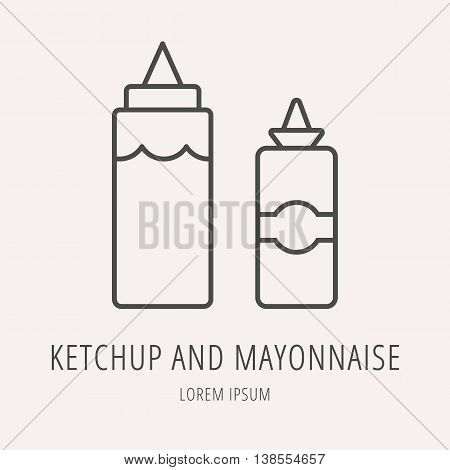 logo or label meal. Line style logotype template with ketchup and mayonnaise. Easy to use business template. Vector abstract logo or emblem.