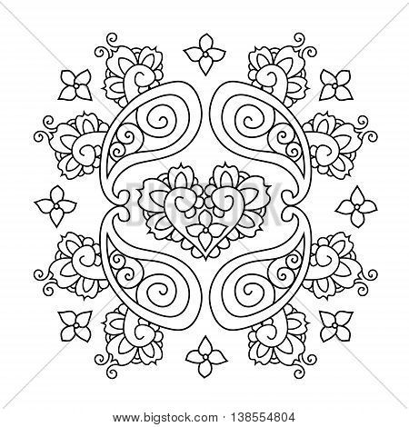 Abstract Mendie Mandala on white background. Vector illustration