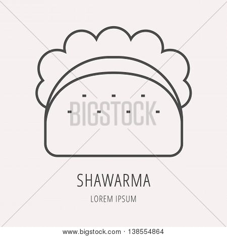 logo or label meal. Line style logotype template with shawarma. Easy to use business template. Vector abstract logo or emblem.