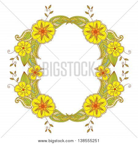 Colorful Mehendi frame on white background. Vector illustration