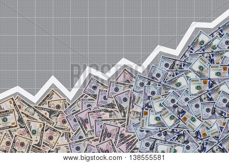 Many dollar bills are filling space under graph of profit growing. Concept of successful business and profit growth