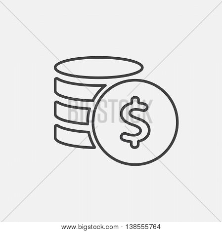 Money. Line Icon Vector. Coins and Dollar cent Sign isolated on white background. Flat design style.
