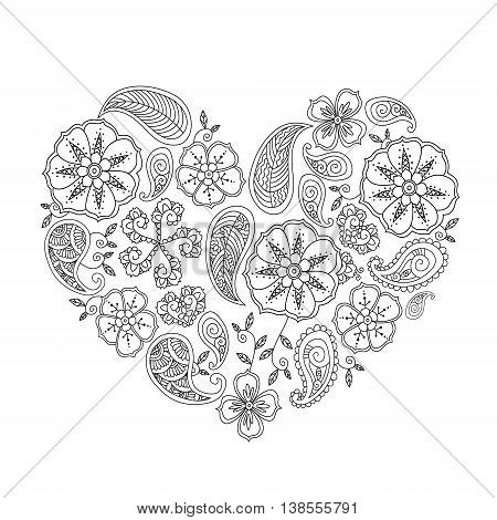 Monochrome heart shape with mehendi flowers and leafs isolated on white background. Vector Illustration