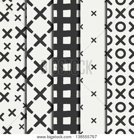 Set of hand drawn geometric seamless ink pattern brush strokes. Wrapping paper. Abstract vector background. Brush strokes. Texture with crosses or pluses. Dry brush. Rough edges illustration.