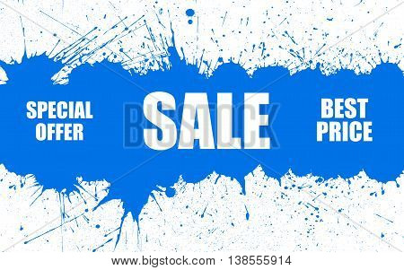Vector Sale Background With Bright Ink Blue Color Blots over white. Each element separate on layers for easy use and recolor. Background for business, sale, trade and other promo designs.
