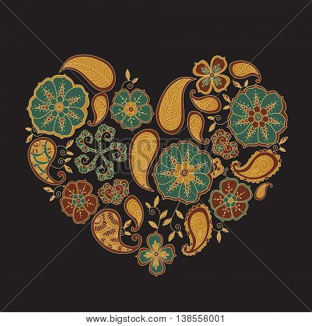 Colorful heart shape with mehendi flowers and leafs on dark background. Vector Illustration