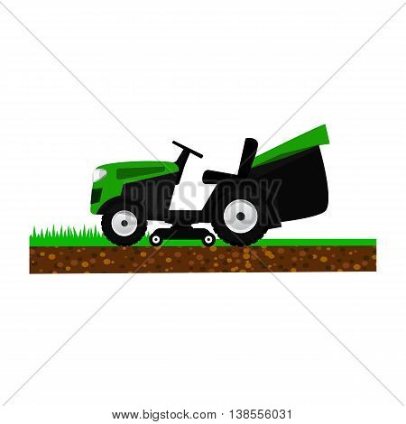Lawnmower isolated on white background. Garden machinery for cutting grass. Garden, park, sports field maintenance.