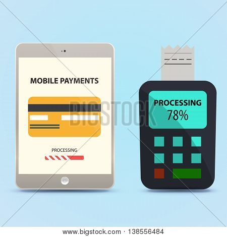 payment for the goods using the tablet. NFC chip. Vector