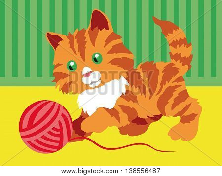 Cute orange kitten playing with a clew in room. Vector illustration.