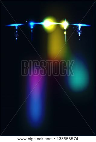 Airplane in the night sky, blur vector background