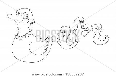 Mother duck with three baby ducks. Can be used for coloring book. Vector illustration.