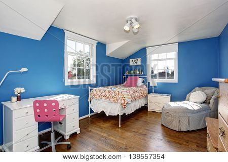 Adorable Blue Kids Room With Hardwood Floor And Vaulted Ceiling.